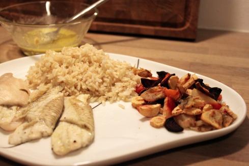 Rødspætte, ris og rodfrugt 1